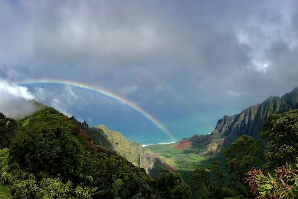 During a day trip to the Waimea Canyon State Park the clouds parted and formed a spectacular rainbow