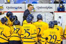 Quinnipiac coach Rand Pecknold addresses his team. The Bobcats will play Arizona State Saturday in Allentown, Penn. in the NCAA Tournament.