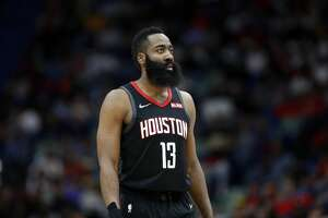 Houston Rockets guard James Harden (13) during the first half of an NBA basketball game in New Orleans, Sunday, March 24, 2019. (AP Photo/Tyler Kaufman)