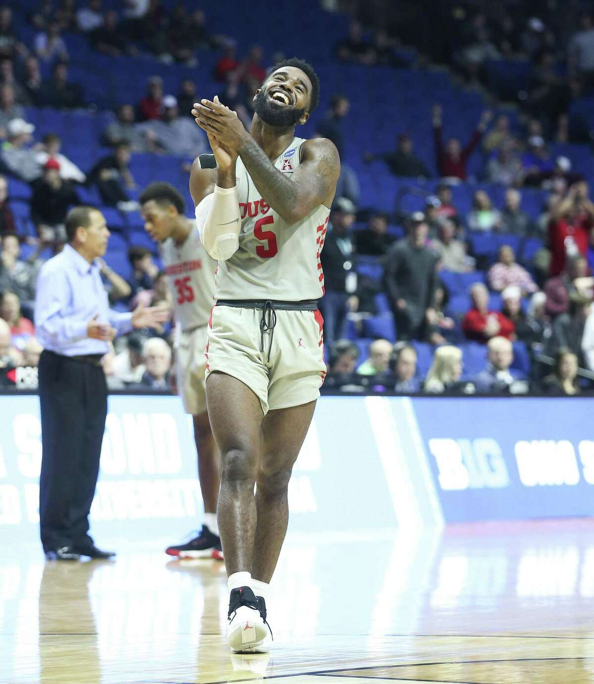 UH guard Corey Davis Jr., who had a game-high 21 points, basks in the realization the Cougars are going to Kansas City.