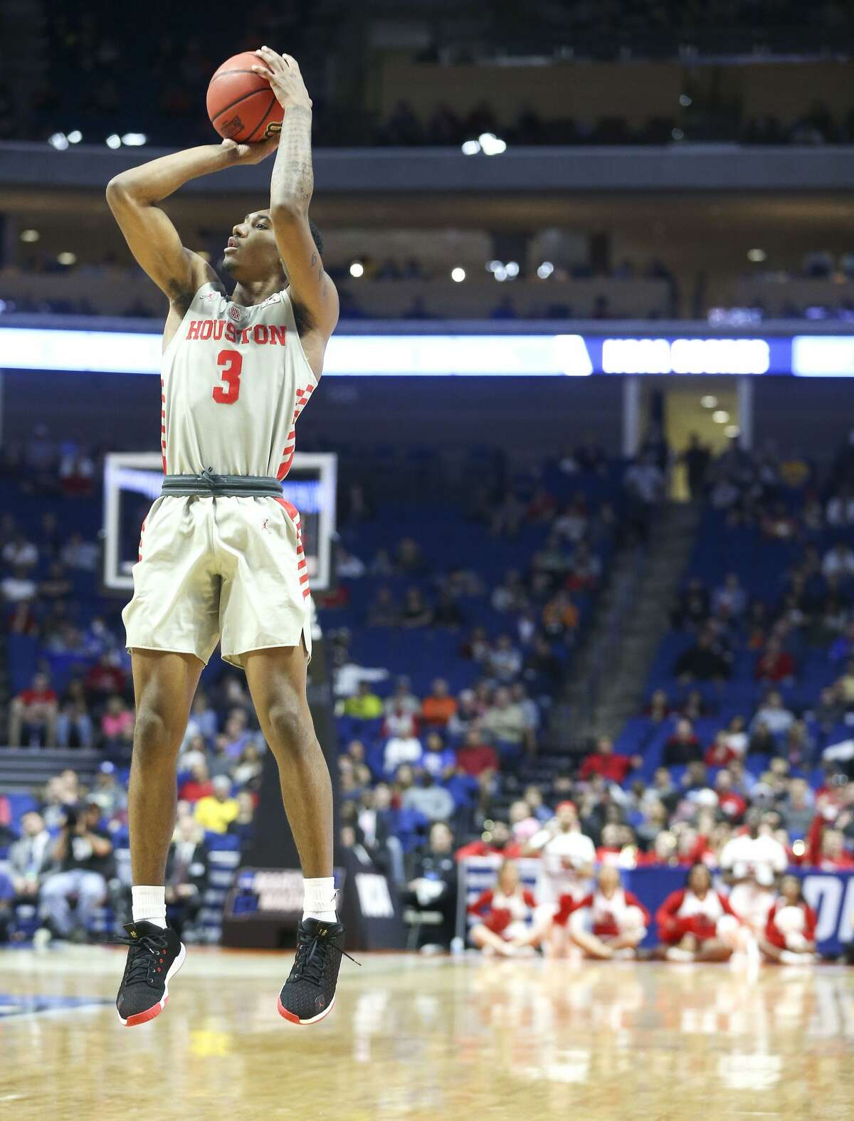 Houston Cougars guard Armoni Brooks (3) puts up three-point-shot against Ohio State during the second round of NCAA playoffs at BOK Center in Tulsa on Sunday, March 24, 2019.