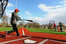 Freshman Frank Saad takes part in the third and final day of tryouts at Penders Field in Stratford, Conn., on Tuesday, Mar. 19, 2019. The school's opening day varsity game will be on Mar. 30th.