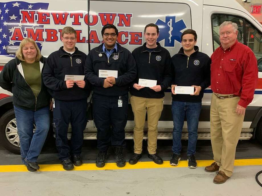 Four young people receive scholarships from the Newtown Volunteer Ambulance Corps on March 23, 2019. Photo: Newtown Volunteer Ambulance Corps / Facebook