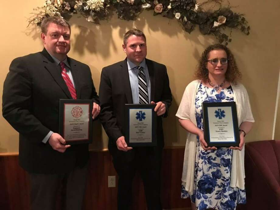 David Bunting, Matt Gunter and Tracey Buckley with the awards they received at Stony Hill Volunteer Fire Company's annual dinner on March 23, 2019. Photo: Stony Hill Volunteer Fire Company / Facebook