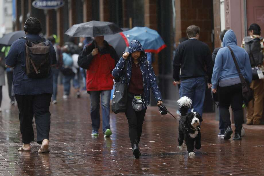 People walk through the rain on Market Street in San Francisco, Calif., on Wednesday March 19, 2019, Photo: Weather0321 / Gabrielle Lurie