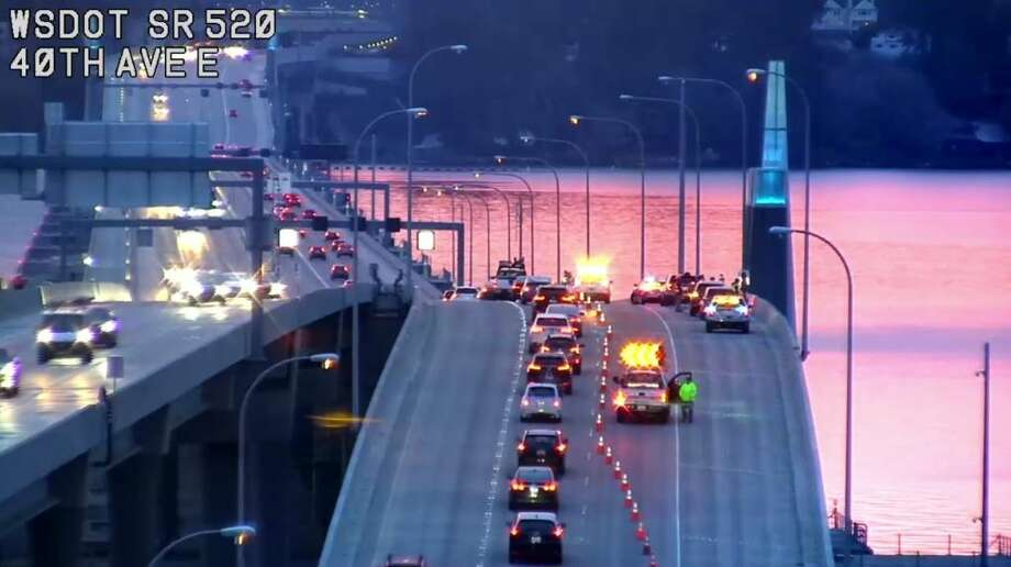 Washington State Patrol troopers were investigating after someone was shot and killed on the middle of the state Route 520 bridge Monday morning. Photo: Courtesy WSDOT
