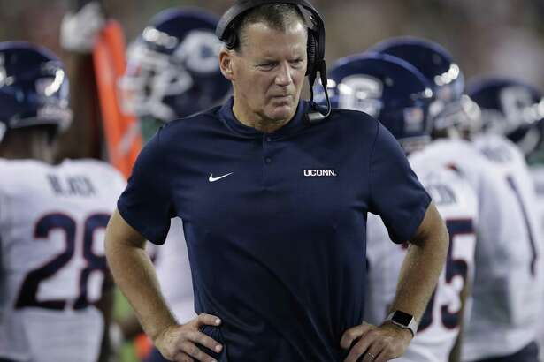UConn coach Randy Edsall during the first half of an NCAA college football game against South Florida Saturday, Oct. 20, 2018, in Tampa, Fla.