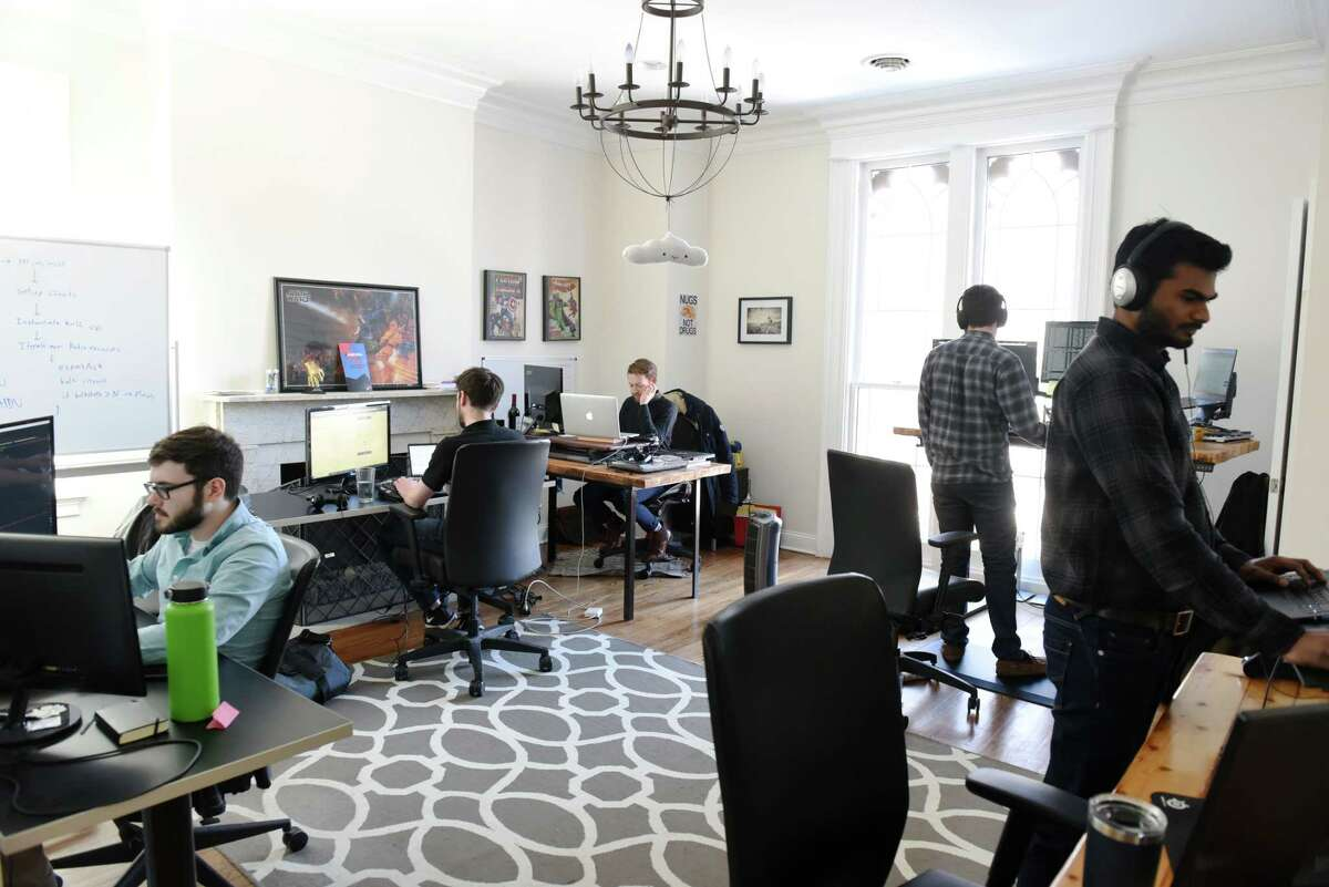 Jahnel Group software developers work on various projects on Thursday, March 7, 2019 at the Jahnel Group office in Schenectady, NY. (Phoebe Sheehan/Times Union)