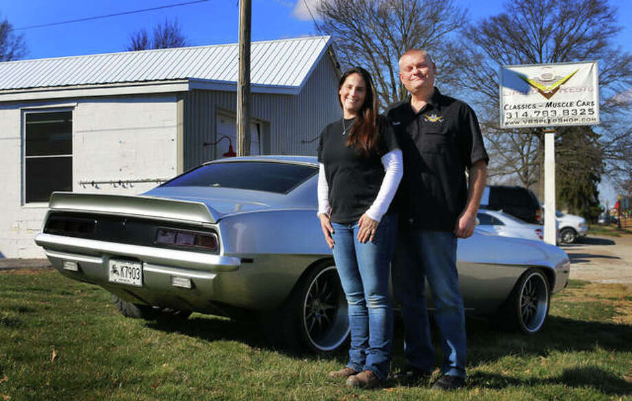 (L-R): V8 Speed & Resto Shop and V8TV Productions owners Kelle and Kevin Oeste. Photo: For The Intelligencer