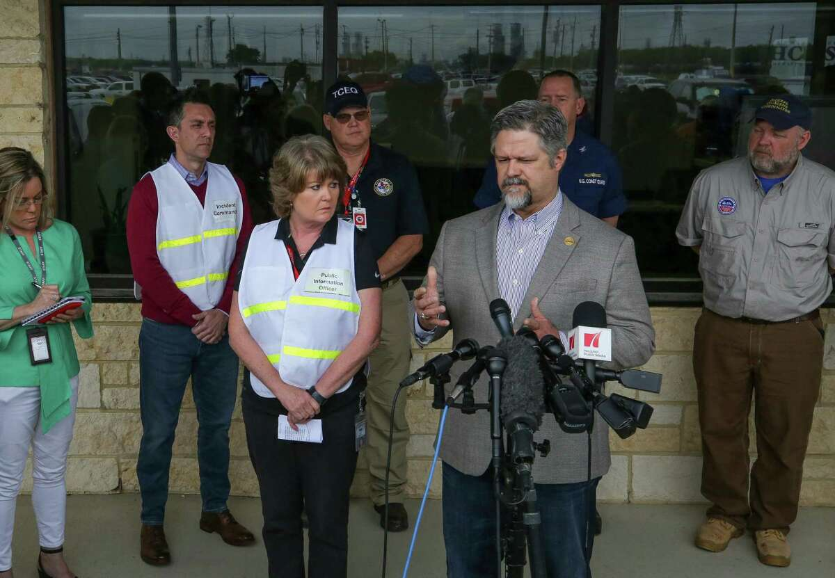 Deer Park mayor Jerry Mouton talks to reporters during a press conference at Intercontinental Terminals Co. on March 25 after fire broke out at the plant.