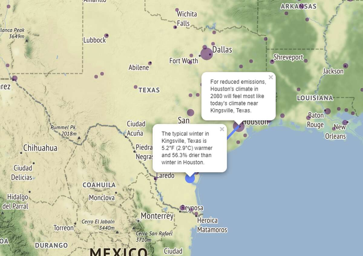 If Houston limits emissions, the climate could feel more like Kingsville, Texas, after 60 years instead of a Mexican city. The map shows the typical winter in Kingsville is 5.2 degrees warmer and 56.3 percent drier. >>> Click through the gallery to see the areas most affected by climate change