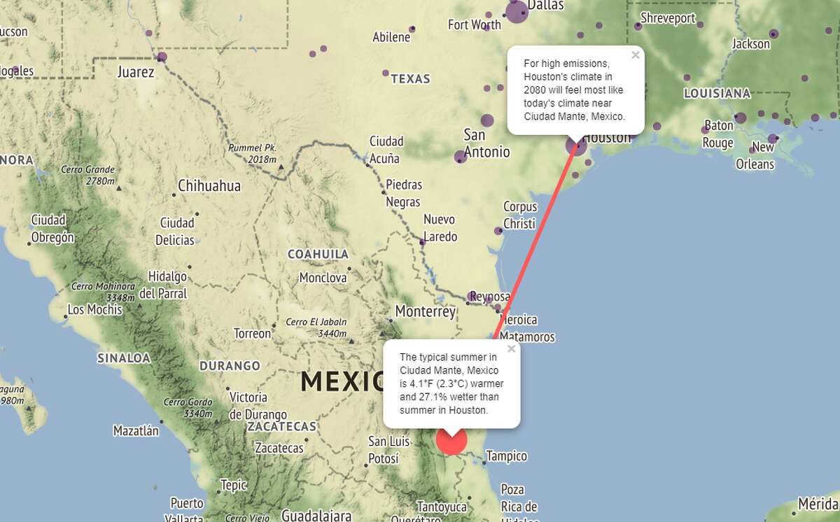 If Houston doesn't limit emissions in a significant way, the city in 60 years will likely feel like Ciudad Mante, where summer feels about 4.1 degrees hotter and 27.1 percent wetter than in Houston, according to the map. >>> Click through the gallery to see the areas most affected by climate change