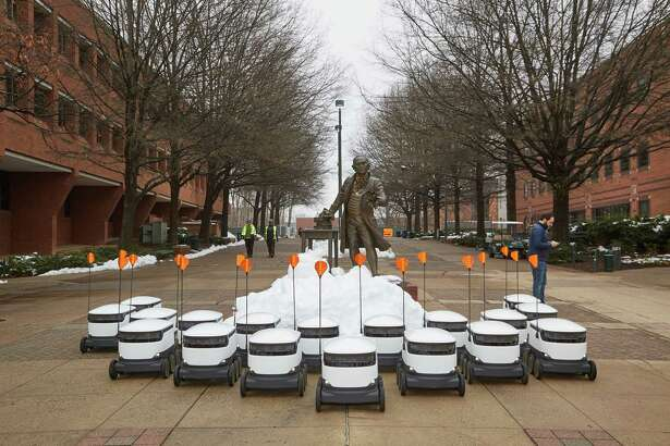 Georgia Mason University in Fairfax, Virginia, received a fleet of 25 delivery robots that can haul up to 20 pounds each as they roll across campus at 10 miles per hour, according to Starship Technologies.