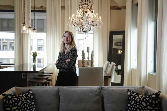 Jackie Traywick in her condo at the St. Germain building, Wednesday, March 20, 2019, in Houston. Story on the Downtown District Home Tour that will be March 30.