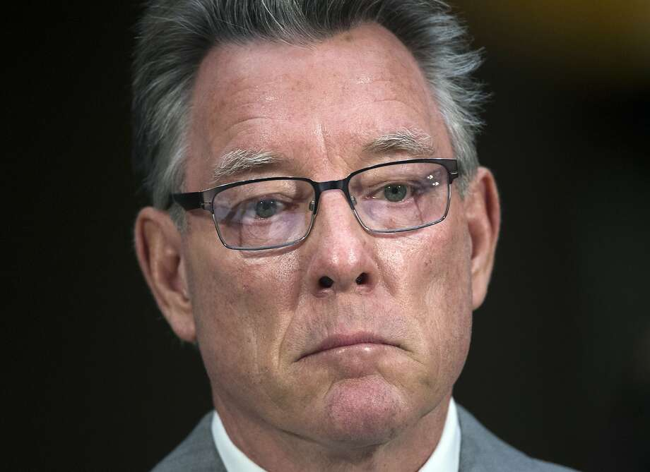 Jim Steinle, father of Kathryn Steinle, who was killed on a San Francisco pier, by a man previously deported several times, listens to opening statements before testifying before a Senate Judiciary hearing in Washington, on July 21, 2015, to examine the Trump administration's immigration enforcement policies. (AP Photo/Molly Riley) Photo: Molly Riley / Associated Press