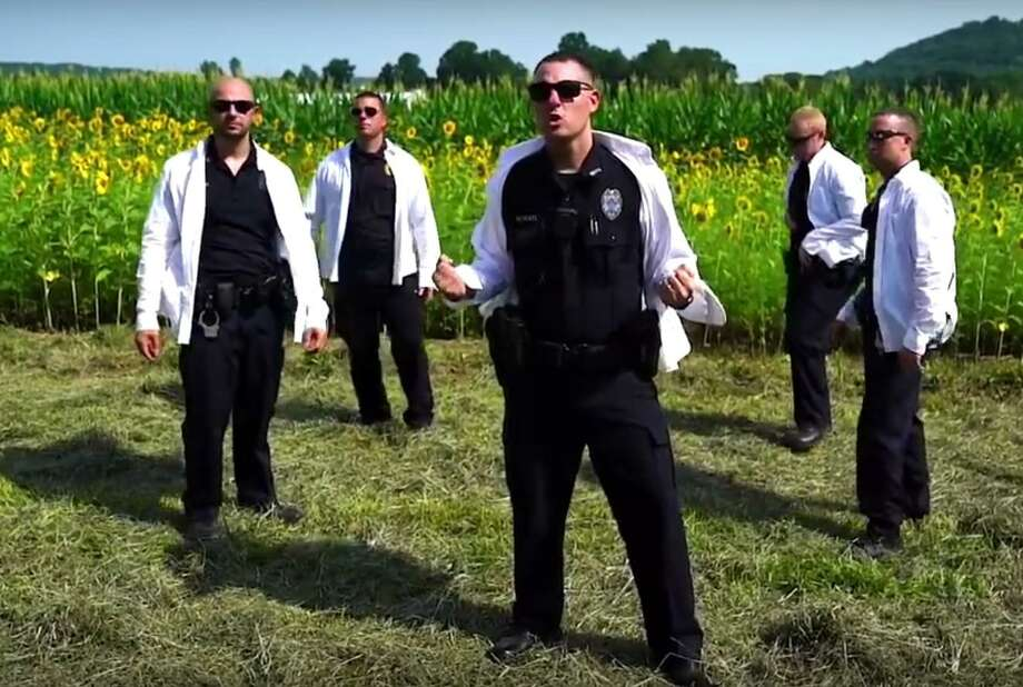 North Branford Police Department's lip sync video is a contenter for national honors. Photo: YouTube Screenshot