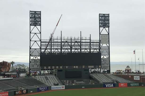 The San Francisco Giants are building a $10 million video board at newly named Oracle Park for the 2019 season. Here's how it looked on March 22, 2019, just two weeks prior to the home opener. (Al Saracevic/San Francisco Chronicle)
