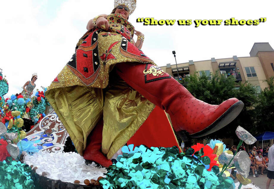 "The tradition of Battle of Flowers and Flambeau Parade royalty dressing up footwear with elaborate decorations and hiding them under their long gowns until Fiesta-goers yell ""Show us your shoes"" has become so important to the festivities that the Institute of Texan Cultures is dedicating an exhibit to it. Photo: Billy Calzada/San Antonio Express-News, MySA Staff / San Antonio Express-News"