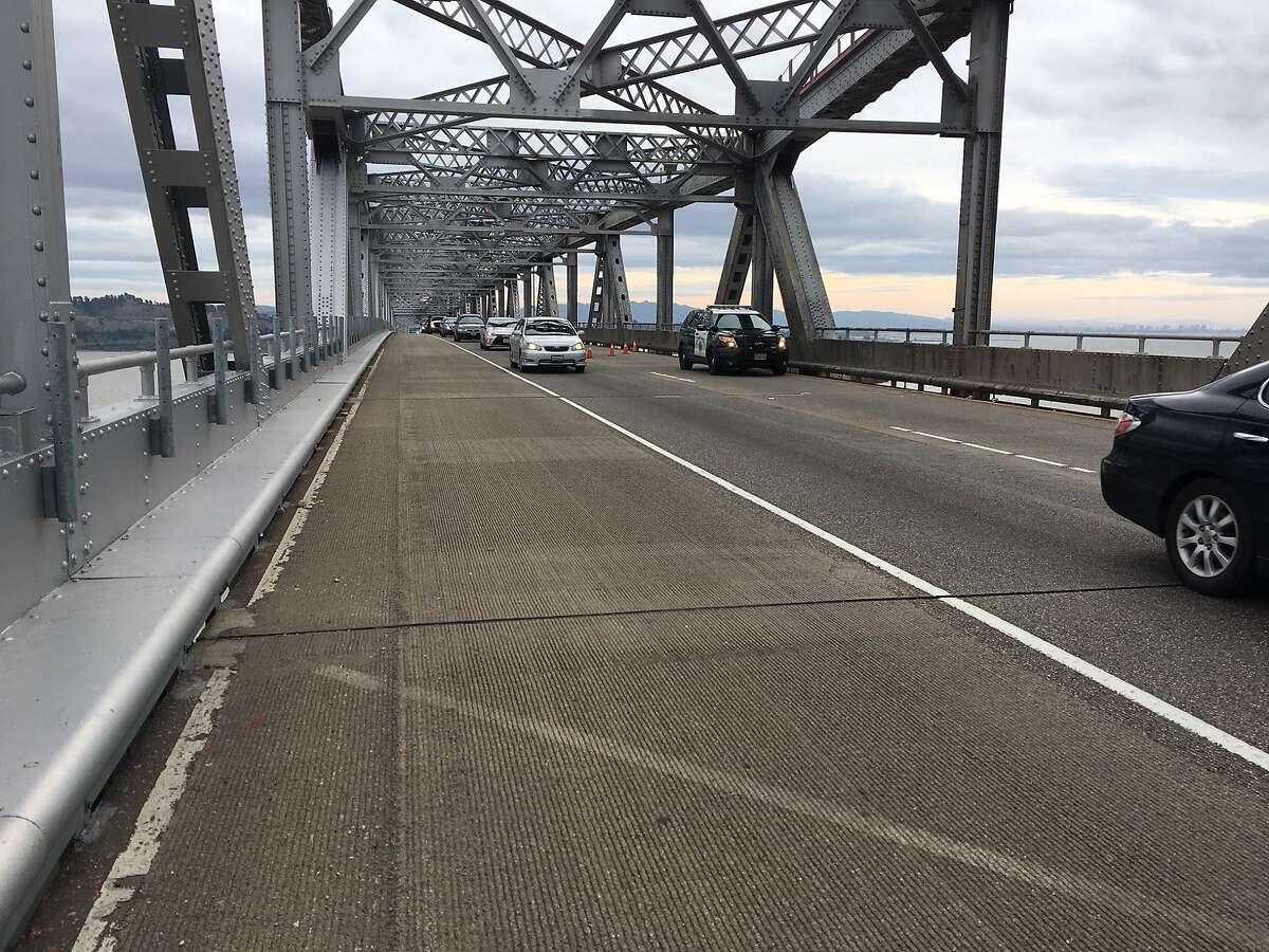 Left lane closed Monday morning on the Richmond-San Rafael Bridge