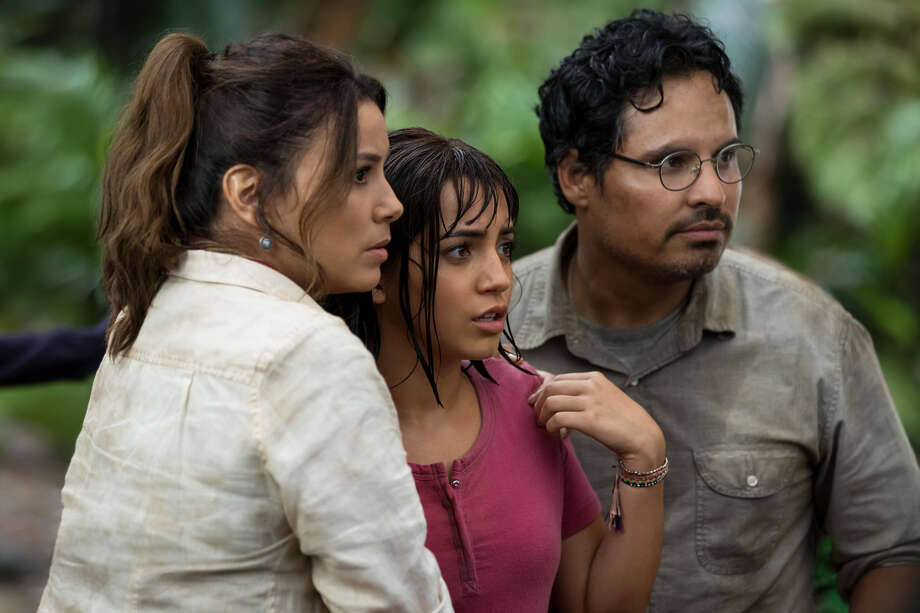 """Eva Longoria, Isabela Moner and Michael Peña star in """"Dora and the Lost City of Gold."""" Photo: Paramount Pictures"""