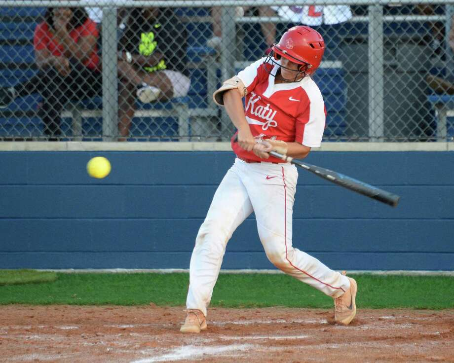 Cait Calland (47) of Katy singles during the fifth inning in Game 1 of a 6A-III regional final playoff game between the Katy Tigers and the Atascocita Eagles on May 24, 2018 at Tompkins HS, Katy, TX. Photo: Craig Moseley, Staff / Houston Chronicle / ©2018 Houston Chronicle