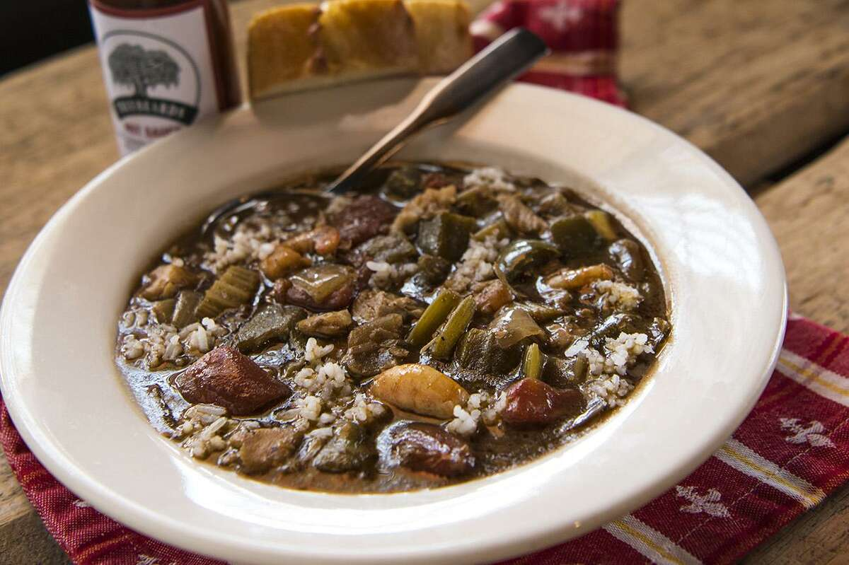 Gumbo (seafood or chicken and sausage) is a specialty at Treebeards restaurants in Houston.