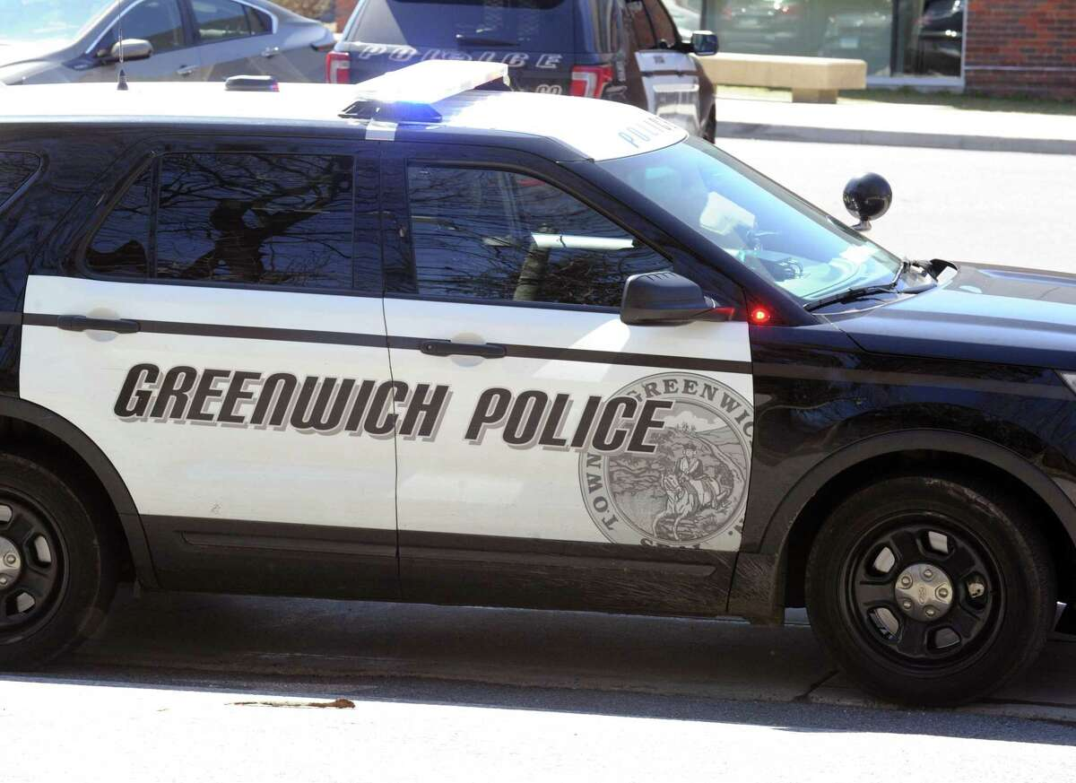 A Greenwich police car as seen at Greenwich High School, Greenwich, Conn., Wednesday afternoon, March 29, 2017.