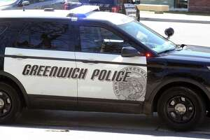 A Greenwich police car as seen at Greenwich High School, Greenwich, Conn., Wednesday afternoon, March 29, 2017.