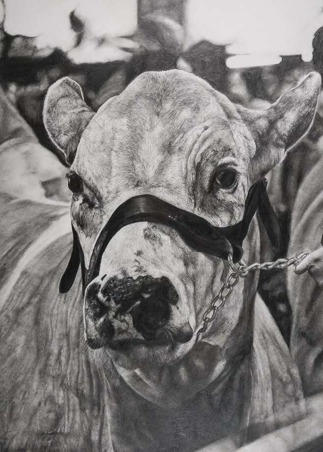 "Tompkins High School 11th grader Madelyn Huynh's creation entitled ""Texas Stud"" won Class Champion over the monochromatic drawing entries and was the highest placed piece among high school entries, with bids reaching $75,000. Photo: Houston Livestock Show & Rodeo / Houston Livestock Show & Rodeo"
