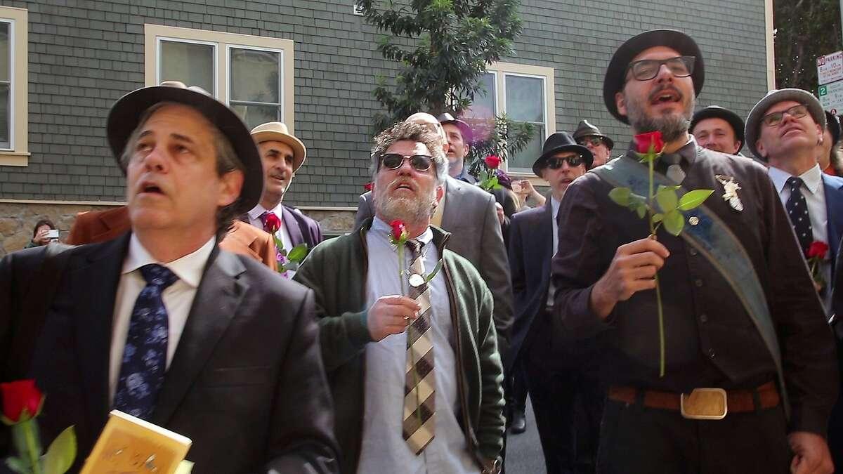 Conspiracy of Beards singers serenade Ferlinghetti