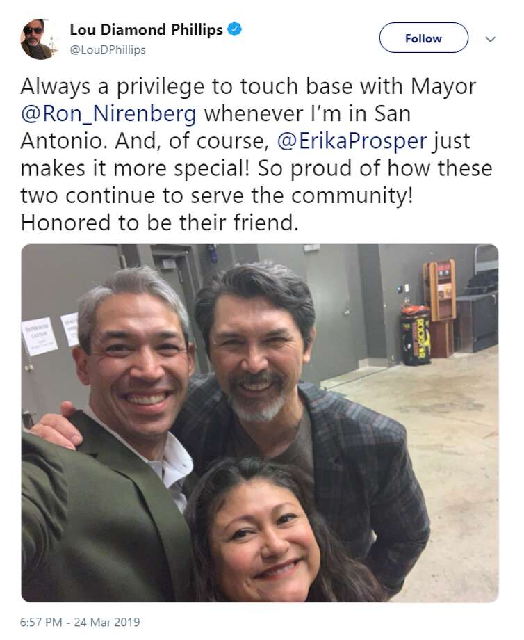 "Actor Lou Diamond Phillips snapped a picture with San Antonio Mayor Ron Nirenberg and his wife, Erika Prosper, before a screening of ""La Bamba"" at the Tobin Center on March 24, 2019. Photo: Lou Diamond Phillips/Twitter"