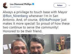 """Actor Lou Diamond Phillips snapped a picture with San Antonio Mayor Ron Nirenberg and his wife, Erika Prosper, before a screening of """"La Bamba"""" at the Tobin Center on March 24, 2019."""
