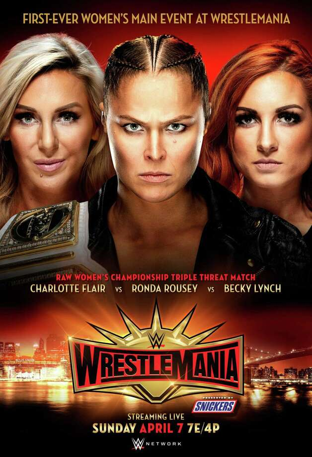 WWE Superstars Charlotte Flair, Ronda Rousey and Becky Lynch will compete in the main event of WrestleMania 35, set for April 7, 2019, at MetLife Stadium in East Rutherford, N.J. Photo: Contributed Photo