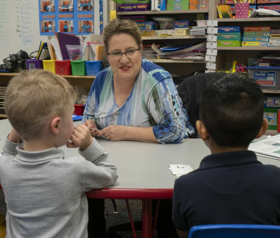 Holley Chandler works with some of her pre-k students 03/25/2019 at Rusk Elementary. Tim Fischer/Reporter-Telegram Photo: Tim Fischer