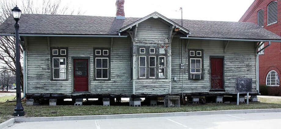 A view of the 136-year-old Nickel Plate Depot, currently supported on blocks on the Lewis & Clark Community College Campus. The city of Edwardsville recently adopted the depot and has plans to restore it. Photo: Charles Bolinger | The Intelligencer