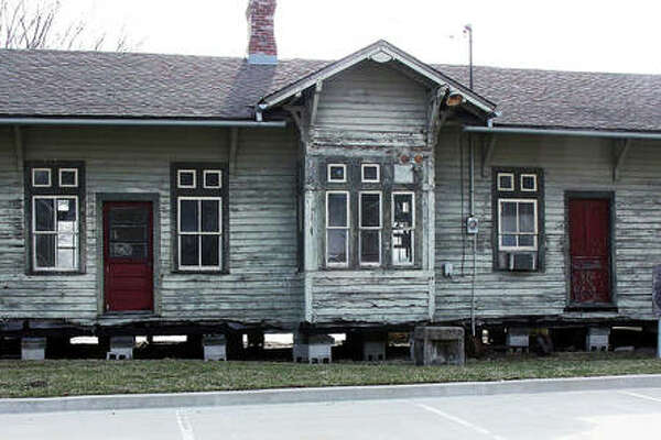 A view of the 136-year-old Nickel Plate Depot, currently supported on blocks on the Lewis & Clark Community College Campus. The city of Edwardsville recently adopted the depot and has plans to restore it.