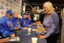 Members of the 1969 World Series-winning New York Mets sign autographs at a celebration of Stew Leonard's 50th anniversary in Norwalk on Monday.