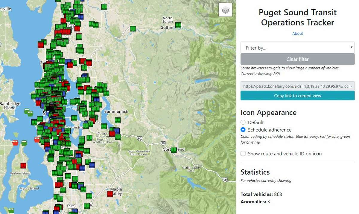 The Puget Sound Transit Operations Tracker was developed by Kona Farry, a junior at the University of Washington studying Community, Environment and Planning. Such is his interest in maps and transit that he created the website in his free time.
