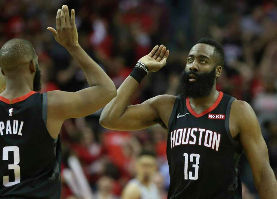 James Harden and Chris Paul have had plenty of high-five moments in their two years in Houston. Photo: Yi-Chin Lee, Staff / Staff Photographer / © 2019 Houston Chronicle