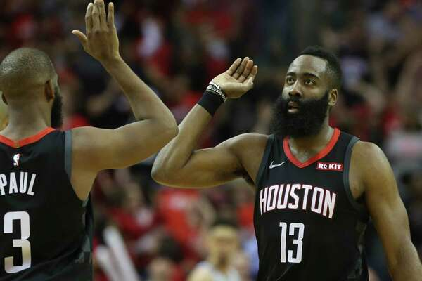 Rockets guard James Harden, right, won the MVP last season and has finished second in two other seasons.