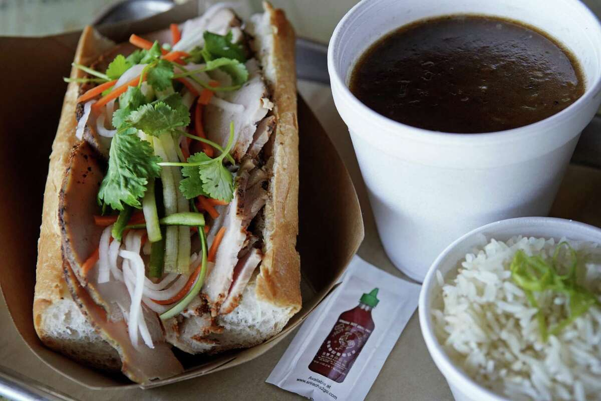 Turkey banh mi sandwich and gumbo at Blood Bros. BBQ.