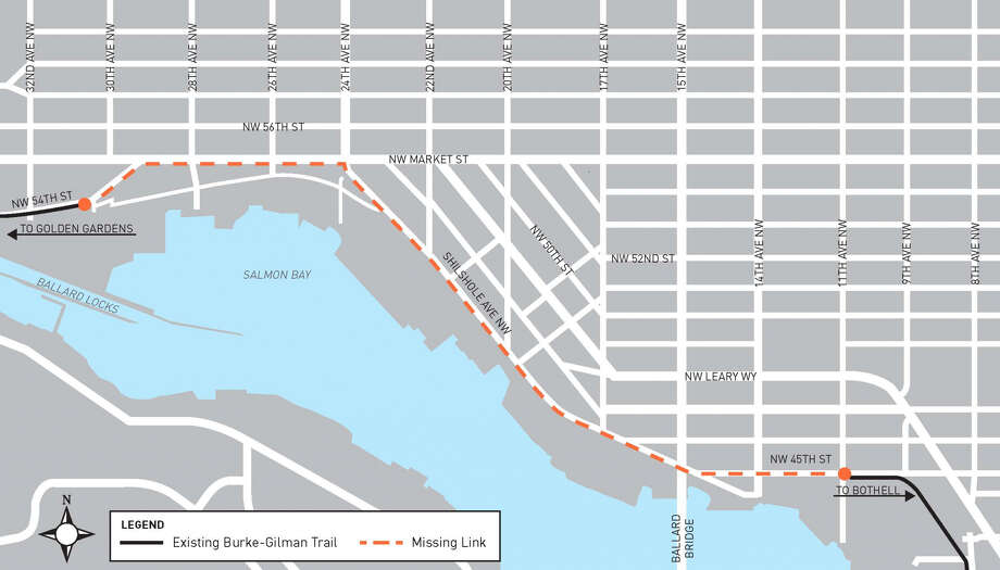 """SDOT shares their map of the Burke-Gilman's """"missing link."""" Photo: Seattle Department Of Transportation"""