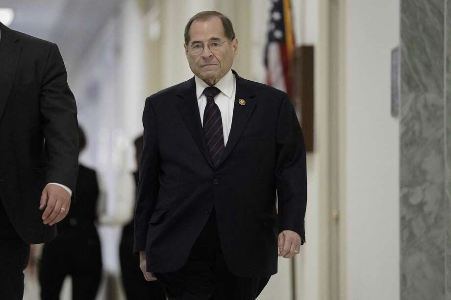 House Judiciary Committee Chairman Jerrold Nadler, D-N.Y., returns to Capitol Hill following the completion of the special counsel Robert Mueller's investigation of whether President Donald Trump or his campaign colluded with Russians to interfere in the 2016 presidential election, at the Capitol in Washington on Monday. Photo: J. Scott Applewhite / Associated Press / Copyright 2019 The Associated Press. All rights reserved.
