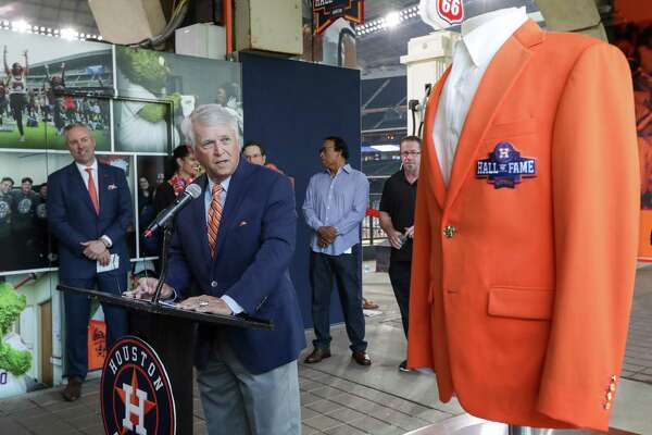Bill Brown, former Houston Astros broadcaster, speaks during a press conference to open the Houston Astros Hall of Fame Alley at Minute Maid Park on Monday, March 25, 2019, in Houston.