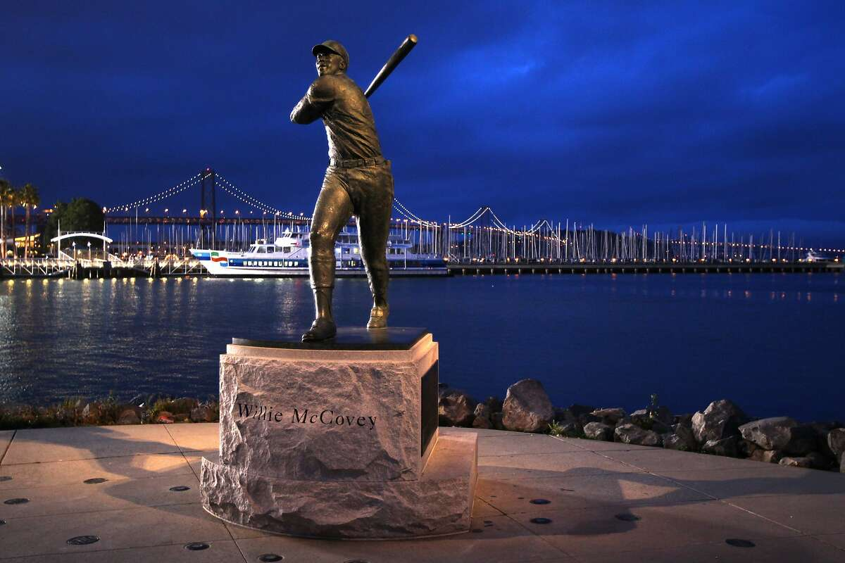 SAN FRANCISCO - APRIL 26: Nighttime general overall exterior view of the statue of former San Francisco Giants great and Hall of Famer Willie McCovey #44 with the San Francisco-Oakland Bay Bridge in the background during the game between the Philadelphia