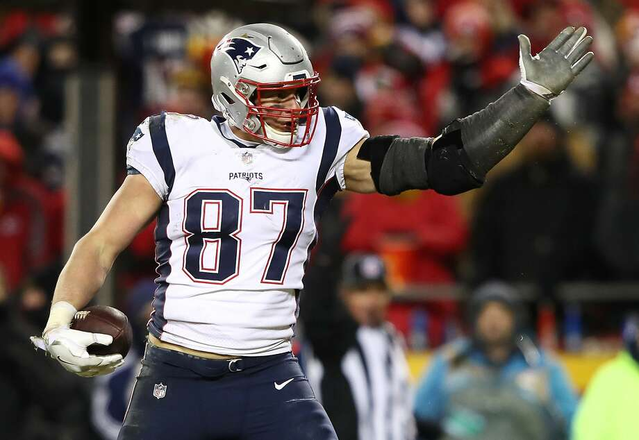 FILE - MARCH 25, 2019:  Rob Gronkowski, the NFL tight end who helped the New England Patriots win three Super Bowl titles and is a near certain Hall of Fame pick, announced his retirement from football March 24, 2019 in an Instagram post. KANSAS CITY, MISSOURI - JANUARY 20: Rob Gronkowski #87 of the New England Patriots reacts after a first down in the second half against the Kansas City Chiefs during the AFC Championship Game at Arrowhead Stadium on January 20, 2019 in Kansas City, Missouri. (Photo by Jamie Squire/Getty Images) Photo: Jamie Squire, Getty Images