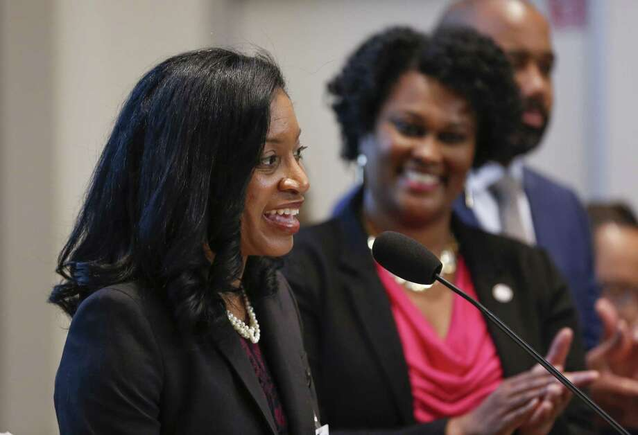Shannon Buggs address the crowd after Mayor Sylvester Turner appointed her as the first director of the Mayor's Office of Complete Communities Monday, March 25, 2019, in Houston. Mayor Turner announced the new director of his signature Complete Communities initiative and provides a progress report and next steps at the afternoon press conference. Photo: Steve Gonzales, Houston Chronicle / Staff Photographer / © 2019 Houston Chronicle