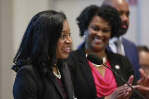 Shannon Buggs address the crowd after Mayor Sylvester Turner appointed her as the first director of the Mayor's Office of Complete Communities Monday, March 25, 2019, in Houston. Mayor Turner announced the new director of his signature Complete Communities initiative and provides a progress report and next steps at the afternoon press conference.
