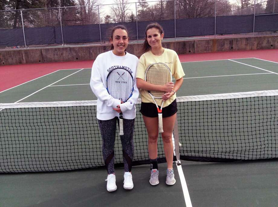 From left to right, Christina Gianesello and Martine Fierro are senior captains of the Greenwich High School girls tennis team, which posted a record of 15-3 last season. Photo: David Fierro / Hearst Connecticut Media / Connecticut Post