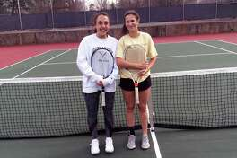 From left to right, Christina Gianesello and Martine Fierro are senior captains of the Greenwich High School girls tennis team, which posted a record of 15-3 last season.